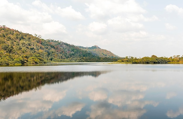 African nature view with trees and lake