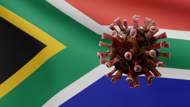 아프리카 rsa 깃발 흔들며 및 코로나 바이러스 2019 ncov 개념. 남아프리카에서 아시아에서 발생하는 코로나 바이러스는 대유행과 같은 위험한 독감 사례로 인플루엔자입니다. 현미경 바이러스 covid19가 닫습니다.
