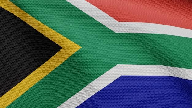 바람에 물결 치는 아프리카 rsa 플래그입니다. 남아프리카 공화국 배너 불고, 부드럽고 매끄러운 실크 닫습니다. 천 패브릭 질감 소위 배경입니다. 국경일 및 국가 행사 개념에 사용하십시오.