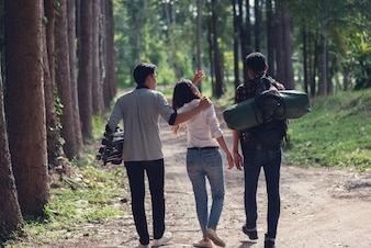 African tourists to travel in the forest,Summer journey vacations outdoor