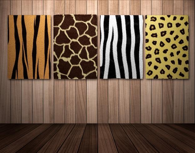 Африканская шкура дикого животного висит на деревянной стене