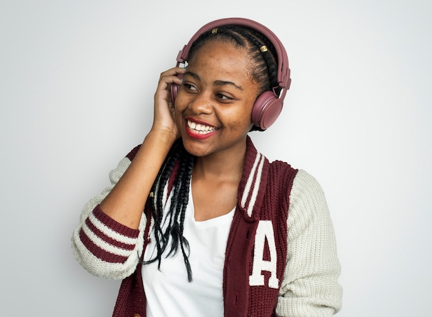 African woman casual lifestyle headphones music concept