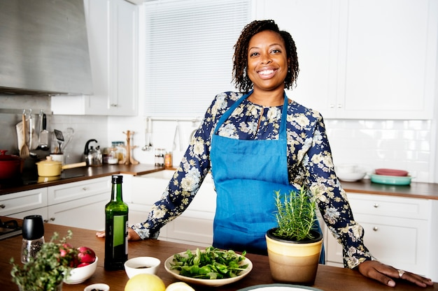 African woman in the kitchen