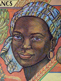 African woman a portrait from old central african money