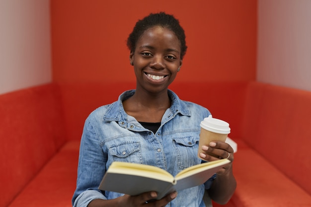 African woman with book