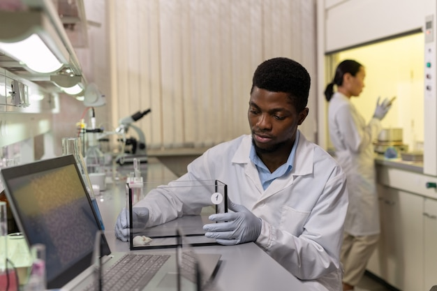 African young man sitting at the table with mouse in box during scientific experiment in the laboratory