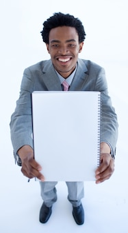 Afro-american businessman holding a big notebook