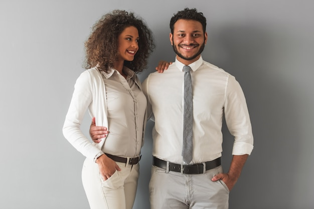 Afro american couple in smart casual wear