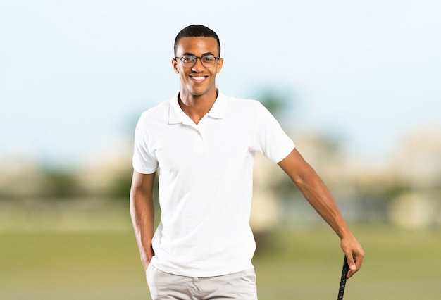 Afro american golfer player man at outdoors