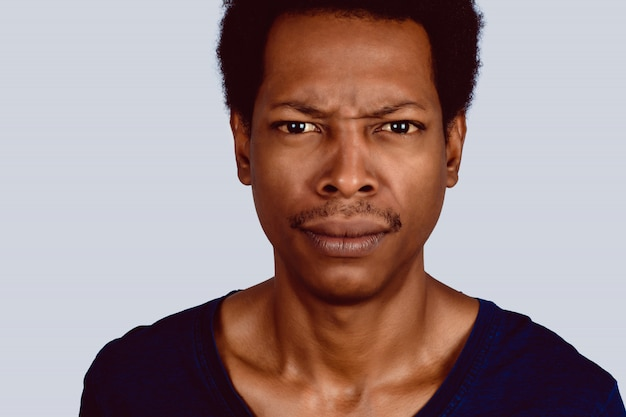 Afro american man worried.