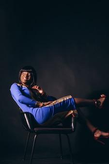 Afro american woman model in studio