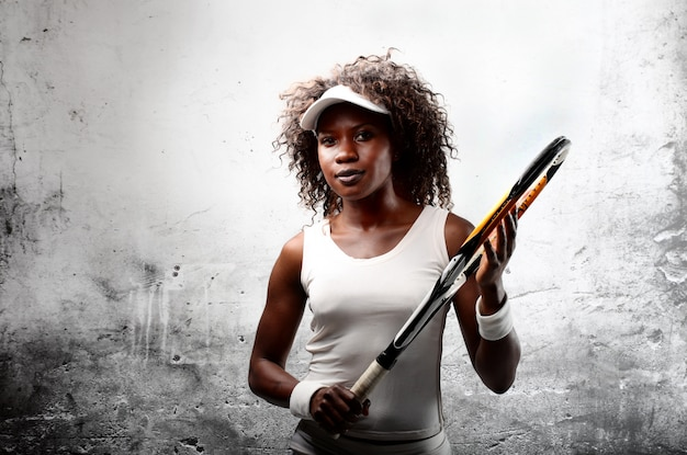Afro female tennis player