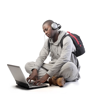Afro guy using a laptop