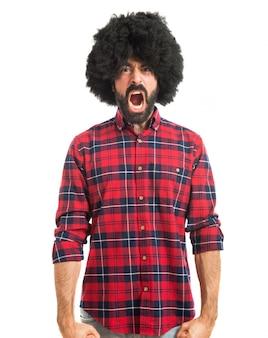 Afro man shouting
