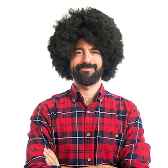 Afro man with his arms crossed