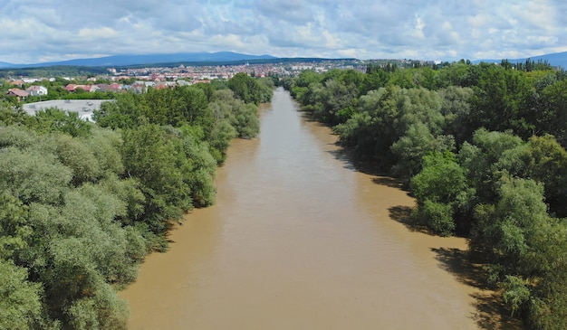 After hard rain cultivated fields are flooded by the ukraine