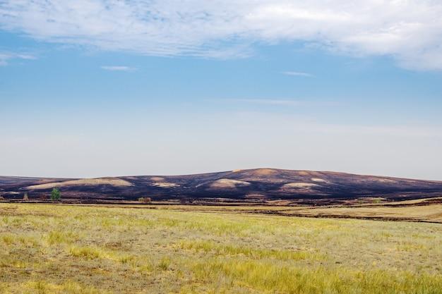 草原の火の後。ロシア、オレンブルク州のソルイレツク地区