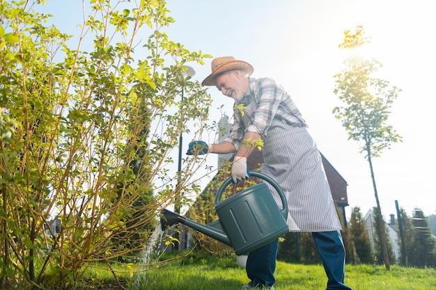 После полудня. ответственный мужчина поливает растения, проводя время в саду.