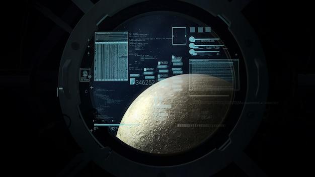 На фоне луны в окошке инфографика расчетов полета космического корабля.