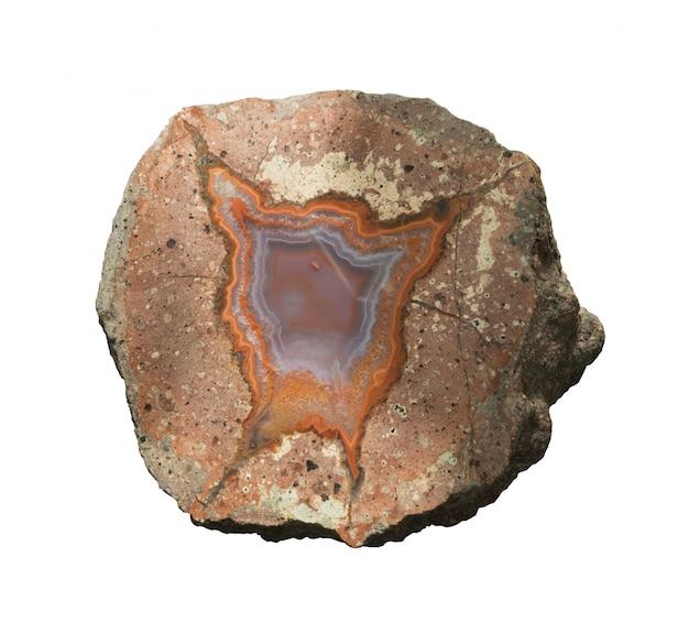 Agate or polished gemstone quartz on white isolated