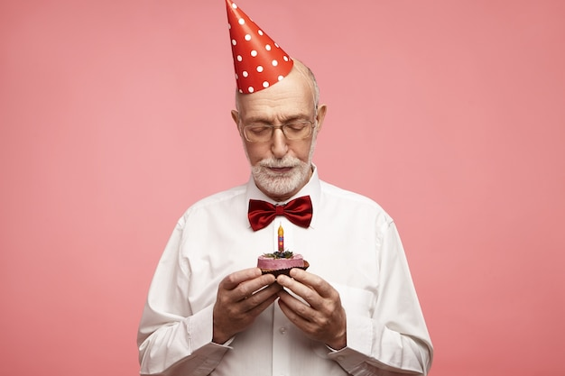 Age, senior people, birthday and celebration concept.