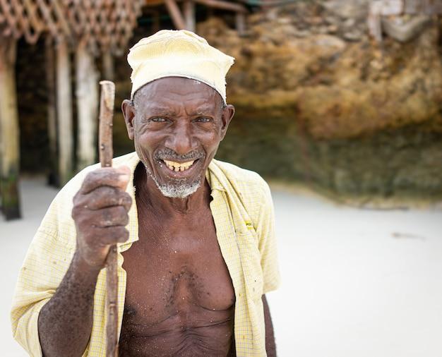 막대기를 들고 해변을 걷고 있는 세 아프리카 셰퍼드