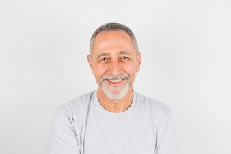 Aged cheerful man in t-shirt