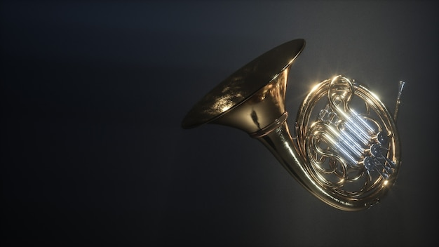 Aged french horn isolated on dark myst background. 3d rendering