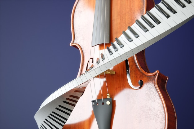 세 바이올린과 piaone 키 개념. 고품질 3d 렌더링