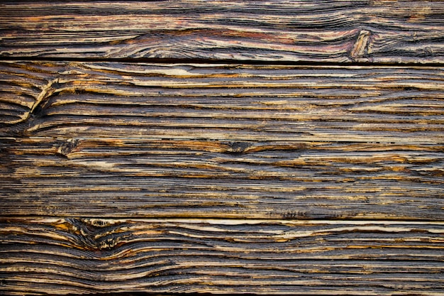 Aged wood texture. boards are black and brown. artificially aged wood. deep texture. the concept of an old tree.