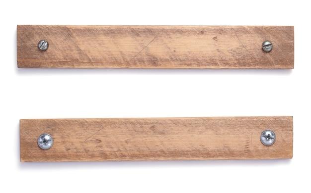 흰색 배경에 고립 된 세 나무 보드, 빔 또는 바