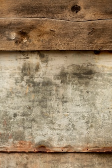 Aged wooden surface with rusty metal