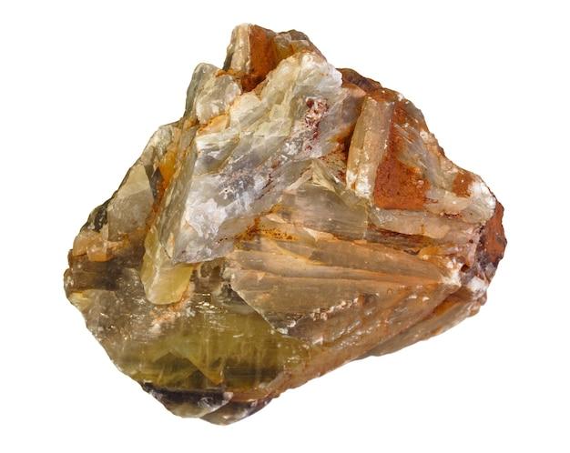 白い背景で分離された天然石膏結晶の集合体