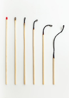 Aging concept with matches