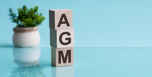 Agm-연례 총회-파란색 backround에 나무 큐브의 약어. 비즈니스 개념.