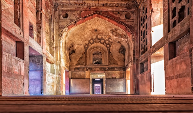 Agra fort entrance interior, beautiful details, india.