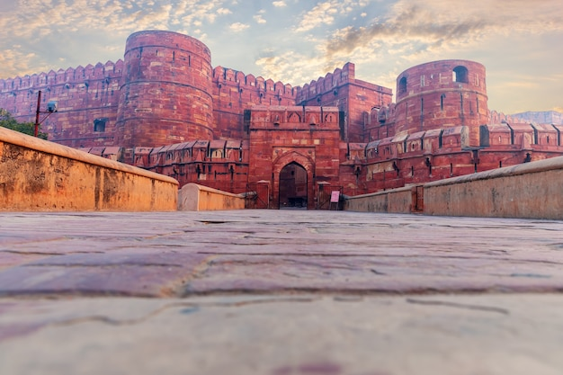 Agra fort main entrance, india, no people.