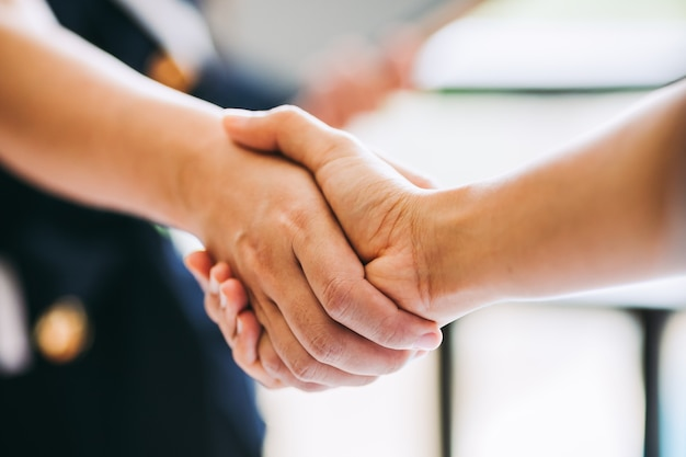Agreement business handshake of two businessman shaking hands.