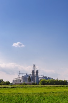 Сельскохозяйственные предприятия. на лицо блестящие железные контейнеры для хранения зерна.
