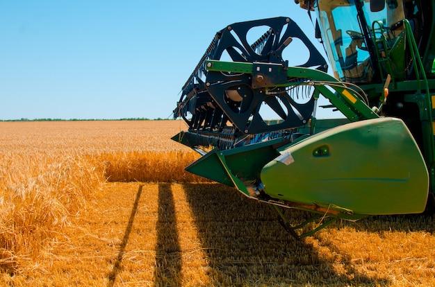Сельскохозяйственная техника собирает урожай желтой пшеницы в открытом поле в солнечный яркий день