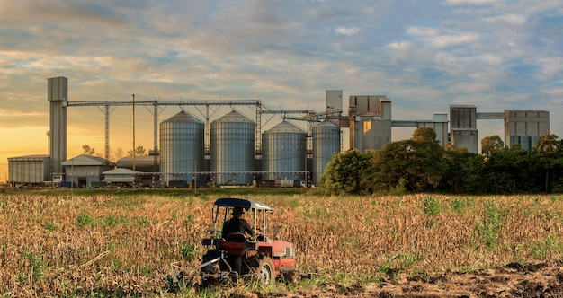 Agricultural silos storage grains, wheat, corn, soy, sunflower, blue sky, farm tractor in