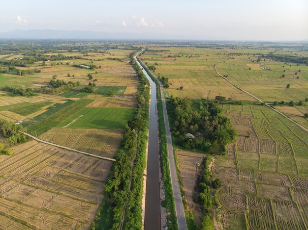 Agriculture canal with river tunnel in the evening