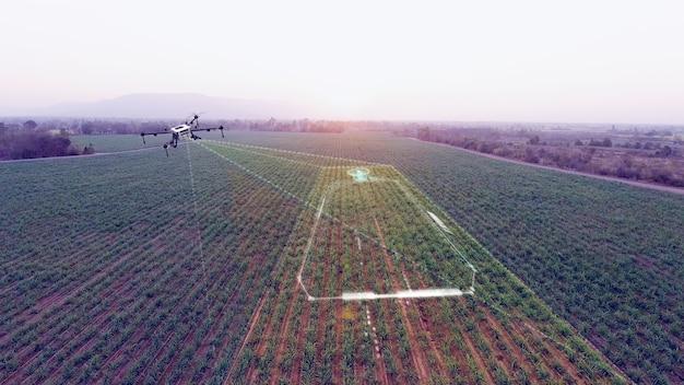 農業用無人機のスキャン作業エリアとマッピングファームの3dイラストレンダリング