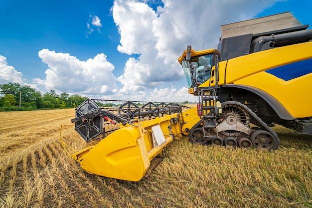 Сельскохозяйственная машина для уборки урожая на полях. спецтехника в действии. сельскохозяйственная техника в поле. тяжелая техника. голубое небо над полем.