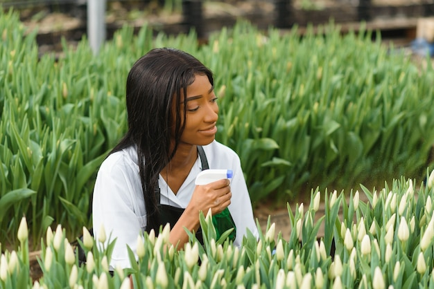 Управление сельским хозяйством. улыбающаяся афро-американская девушка делает фото плантации цветов в теплице, вид сбоку, свободное пространство