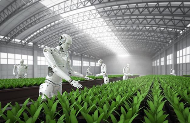 温室内のサイボーグによる農業技術の概念