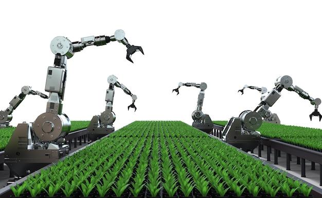 温室内のロボットアームによる農業技術の概念