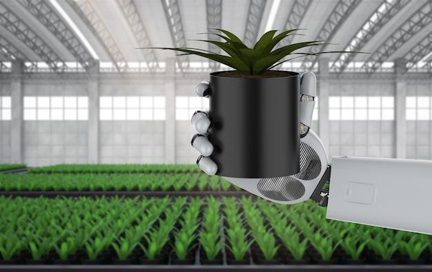 Сельскохозяйственная техника с роботизированной рукой в теплице