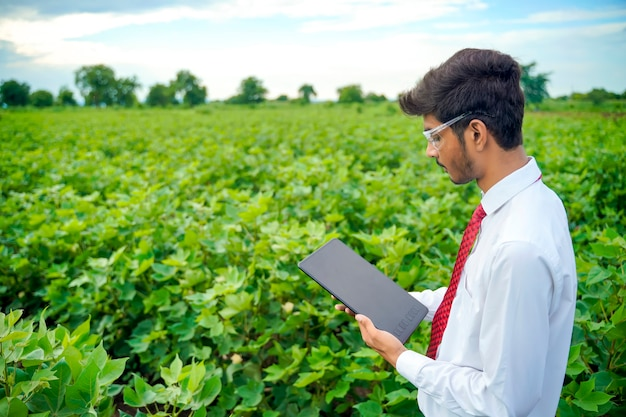 Agronomist at cotton field , showing some information on tab