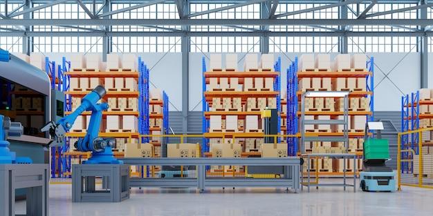 Роботы agv, эффективно сортирующие сотни посылок в час (автоматизированное управляемое транспортное средство). agv. 3d-рендеринг